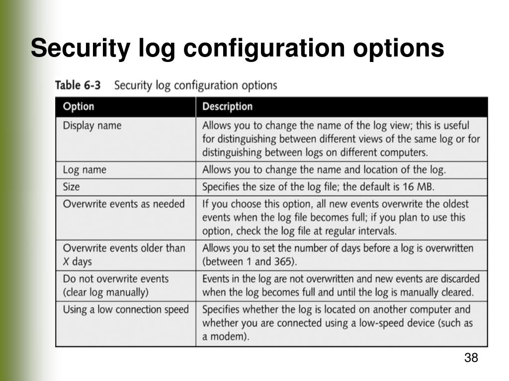 Security log configuration options