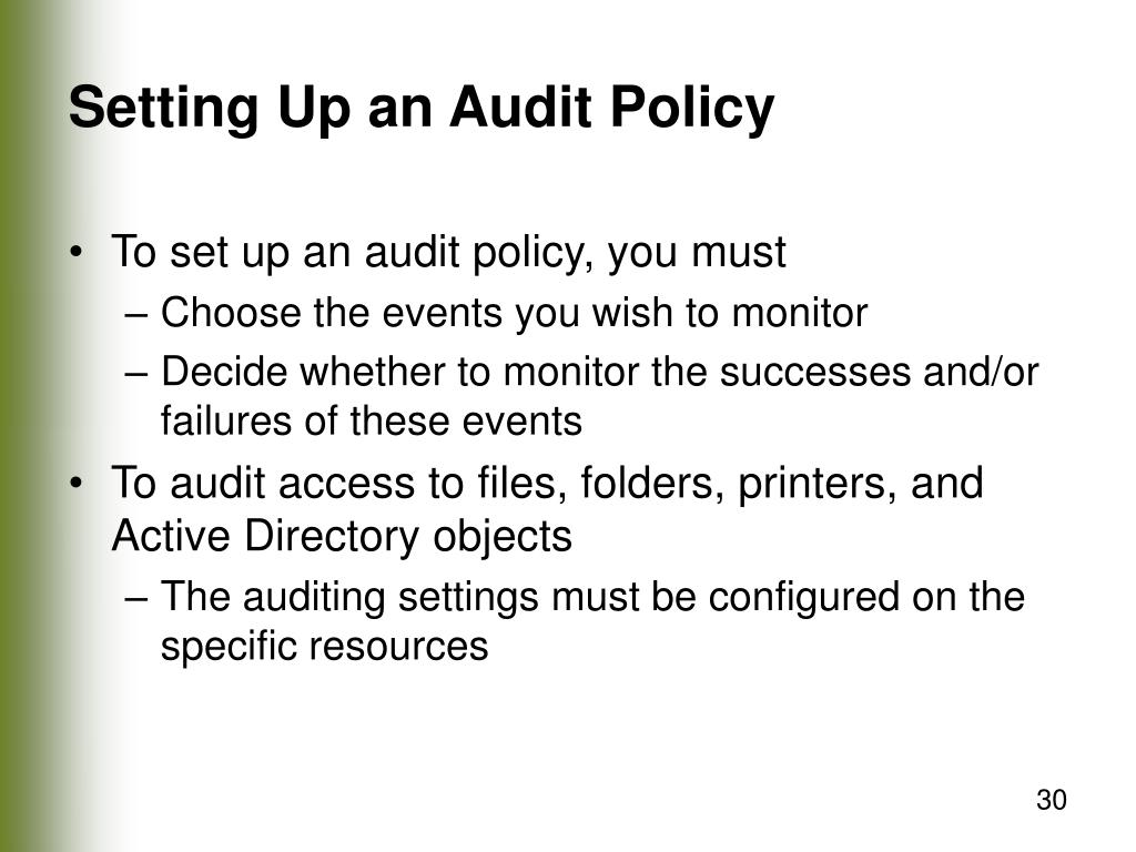 Setting Up an Audit Policy