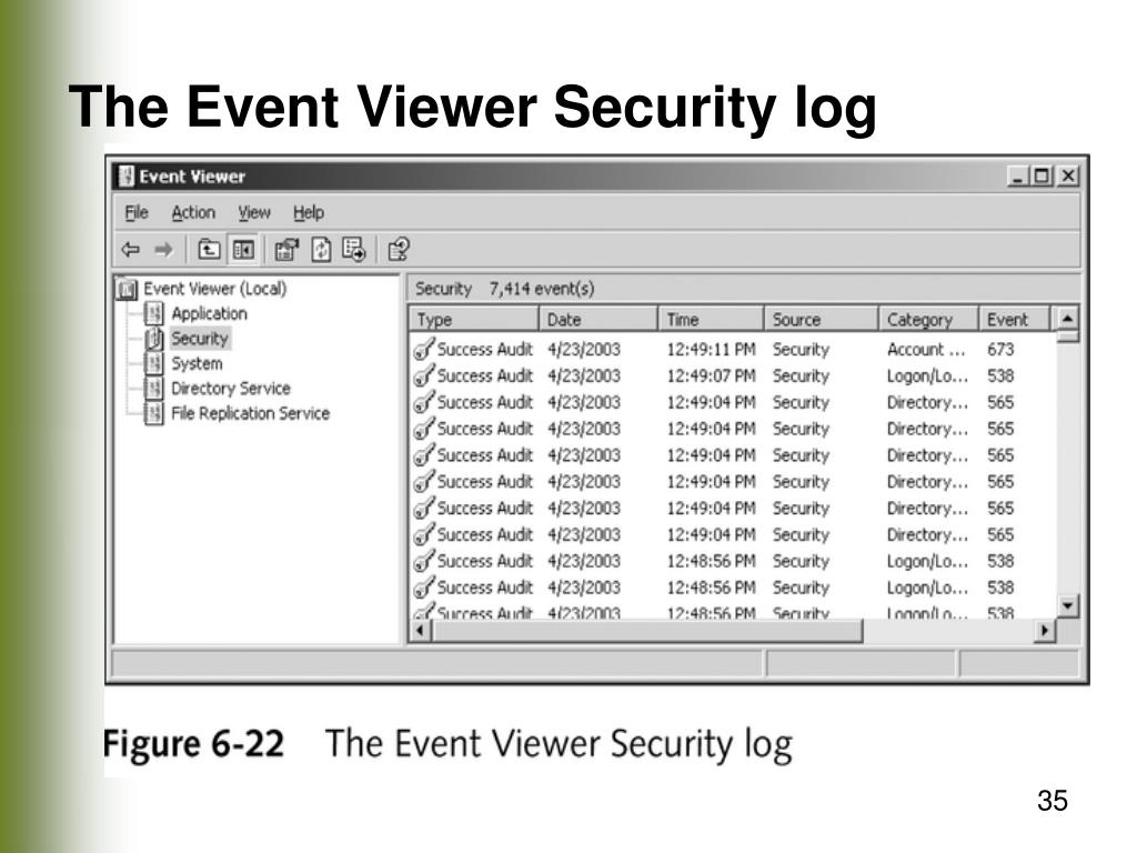 The Event Viewer Security log