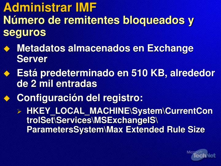 Administrar IMF