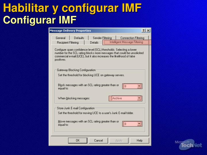 Habilitar y configurar IMF