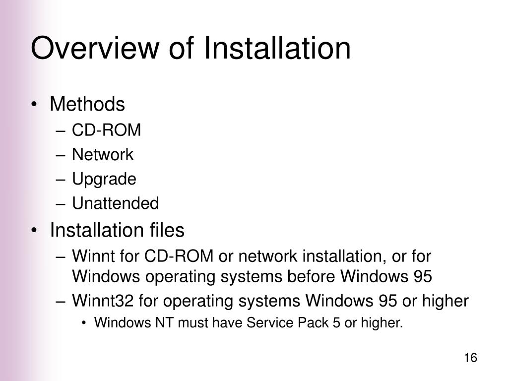 Overview of Installation