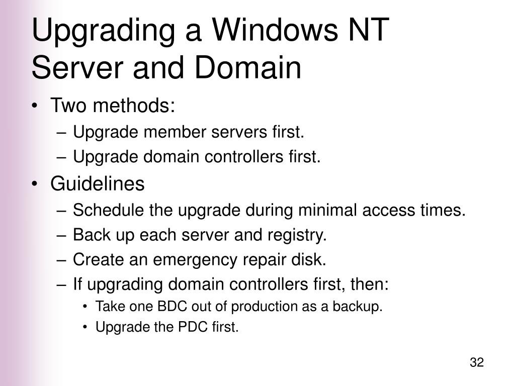 Upgrading a Windows NT Server and Domain