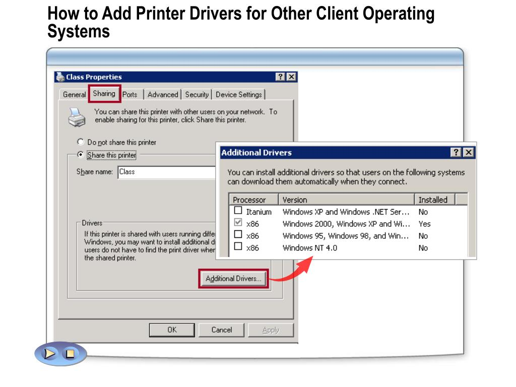 How to Add Printer Drivers for Other Client Operating Systems