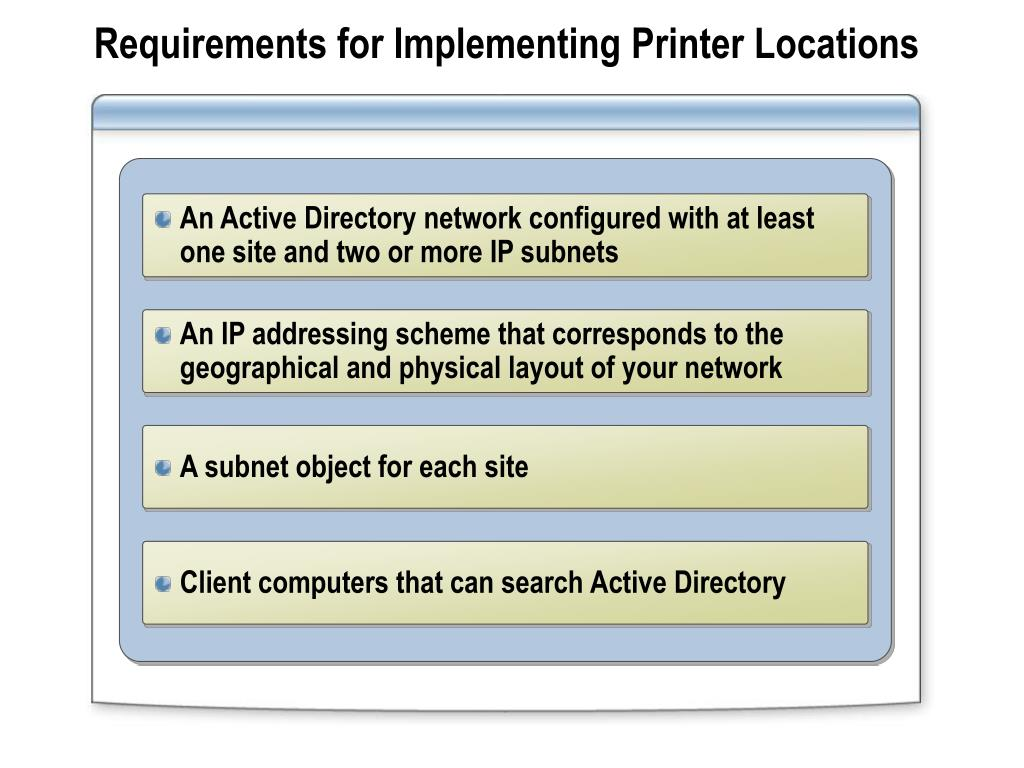 Requirements for Implementing Printer Locations