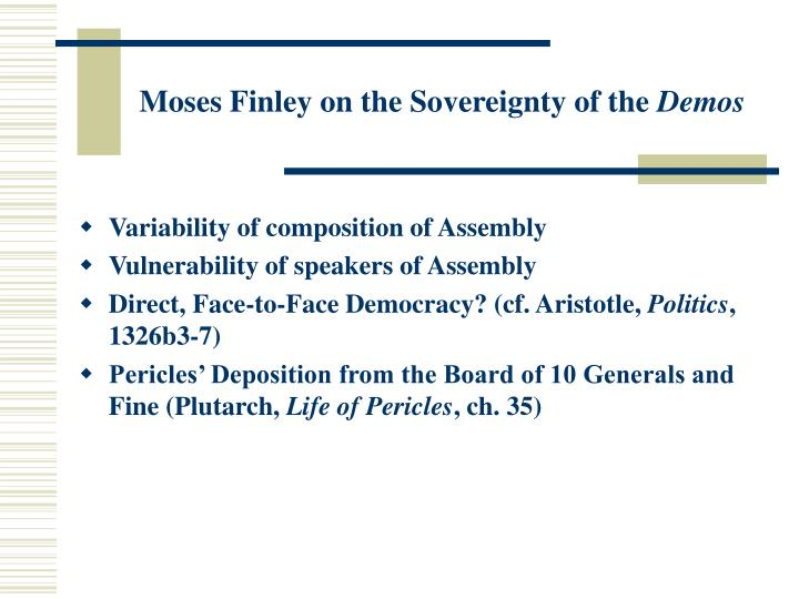 Moses Finley on the Sovereignty of the