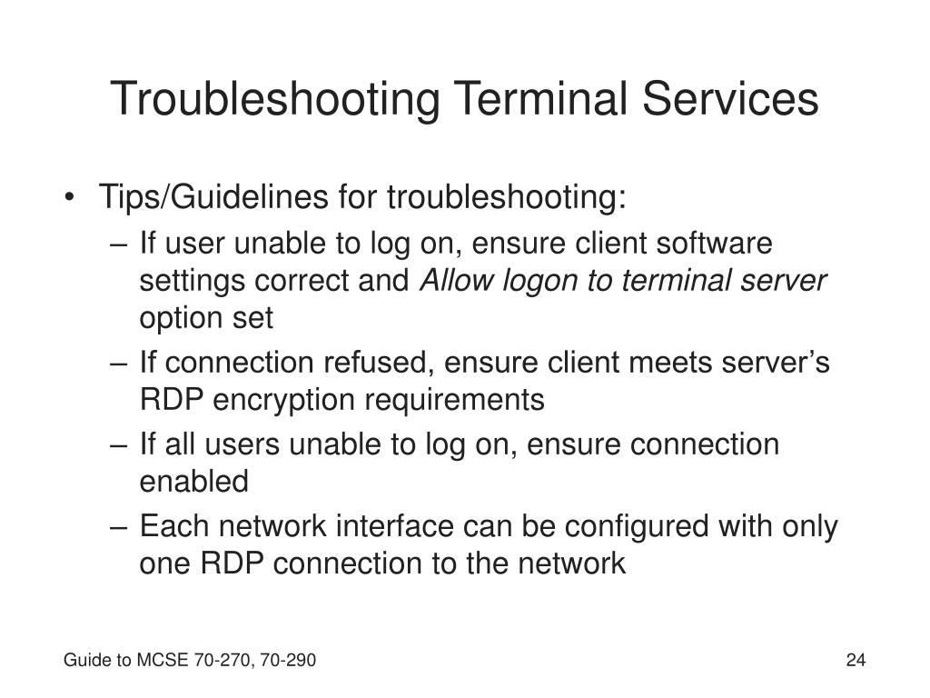 Troubleshooting Terminal Services