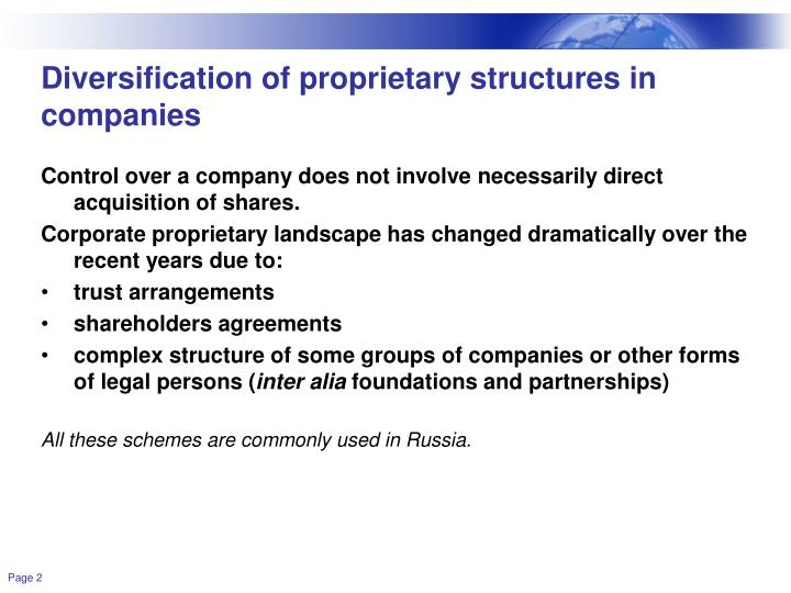Diversification of proprietary structures in companies