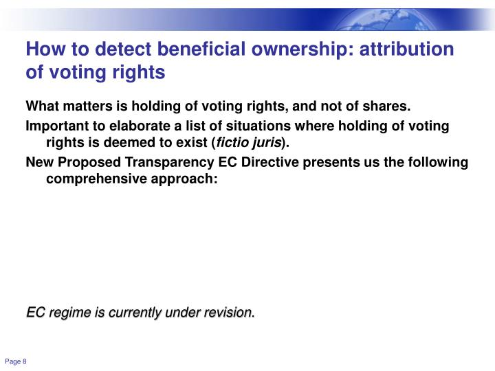 How to detect beneficial ownership: attribution of voting rights