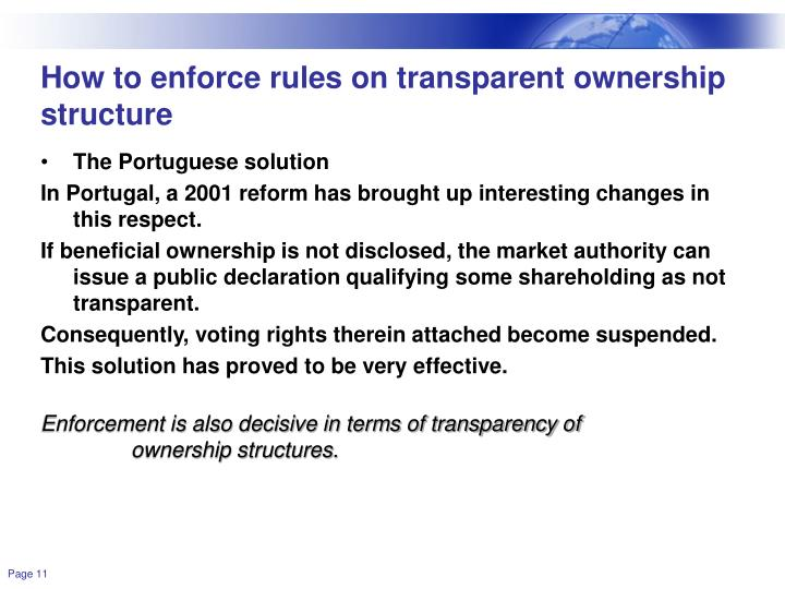 How to enforce rules on transparent ownership structure
