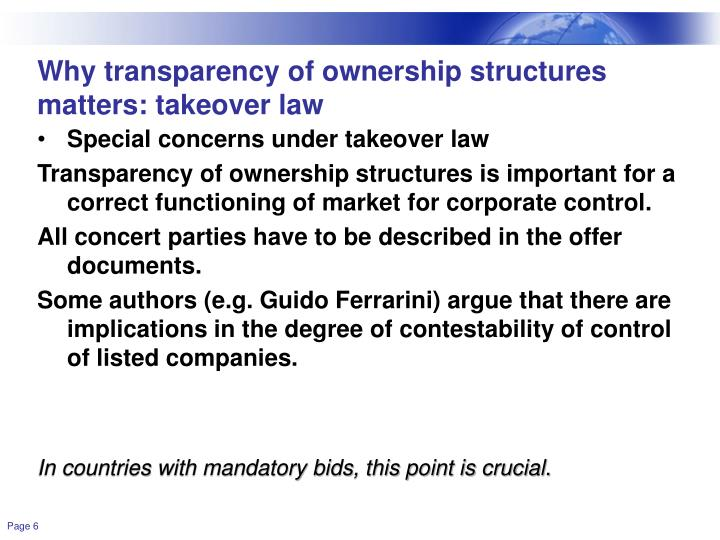 Why transparency of ownership structures matters: takeover law