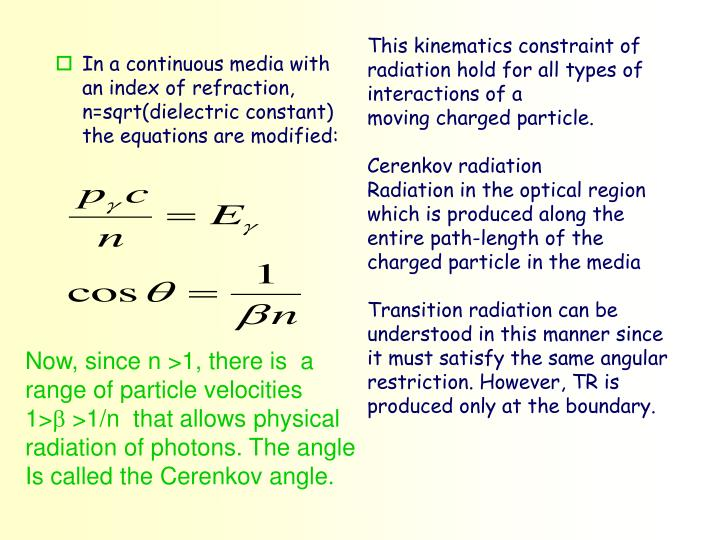 This kinematics constraint of radiation hold for all types of interactions of a