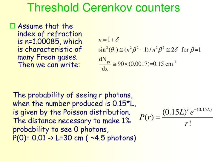 Threshold Cerenkov counters