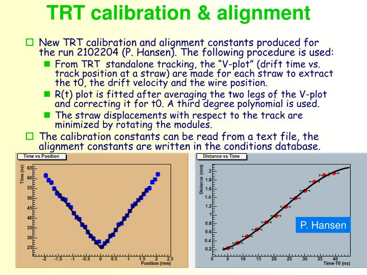 TRT calibration & alignment