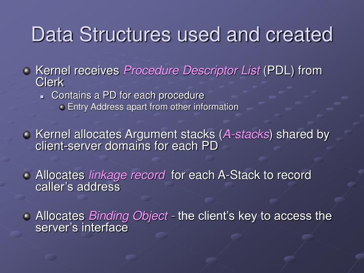 Data Structures used and created