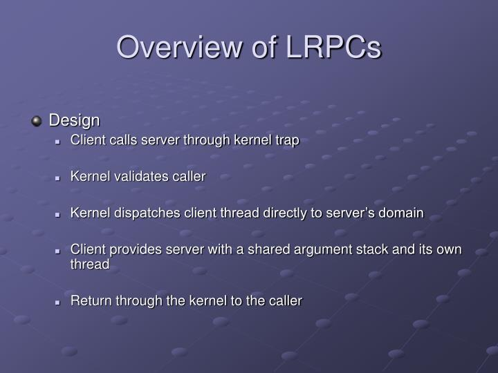 Overview of LRPCs