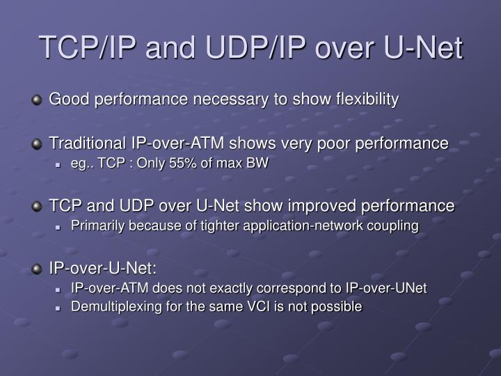 TCP/IP and UDP/IP over U-Net