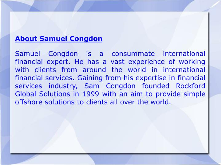 About Samuel Congdon