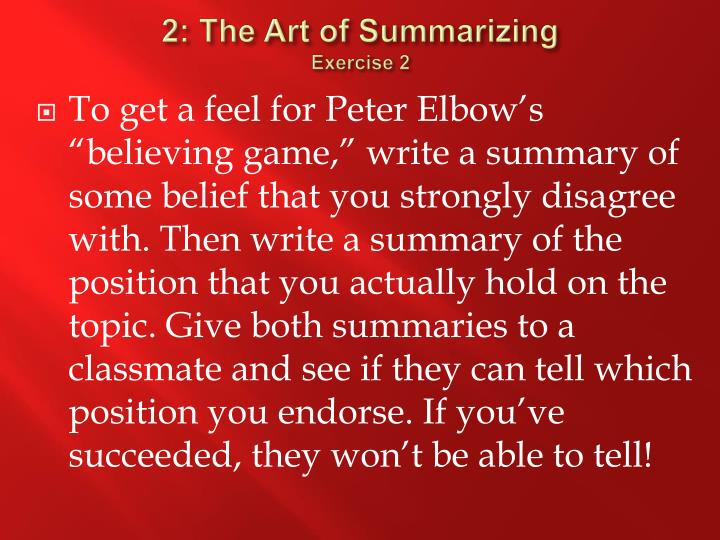 2: The Art of Summarizing