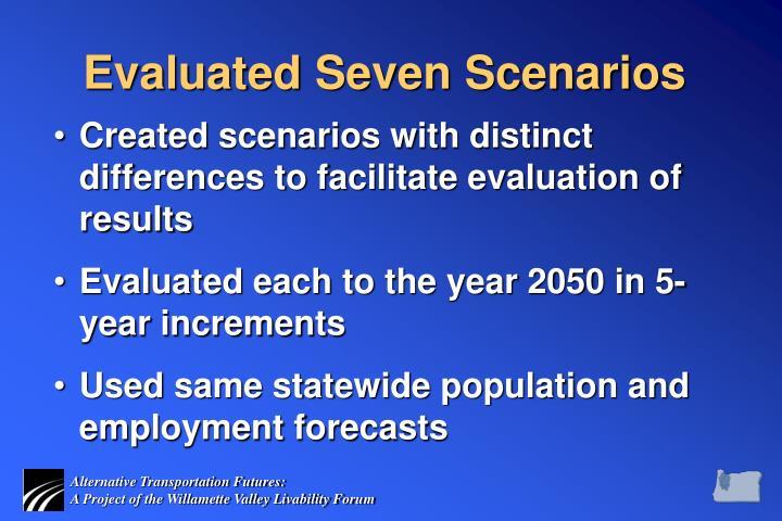 Evaluated Seven Scenarios