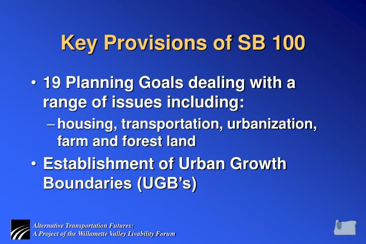 Key Provisions of SB 100
