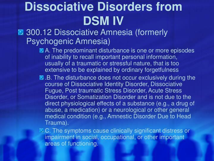 Dissociative disorders from dsm iv