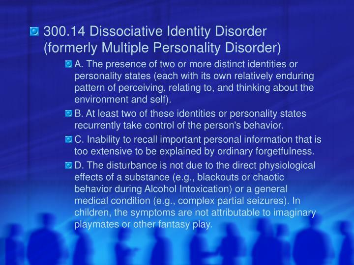 300.14 Dissociative Identity Disorder (formerly Multiple Personality Disorder)