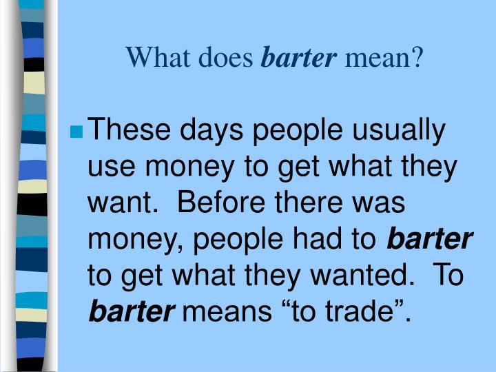 What does barter mean