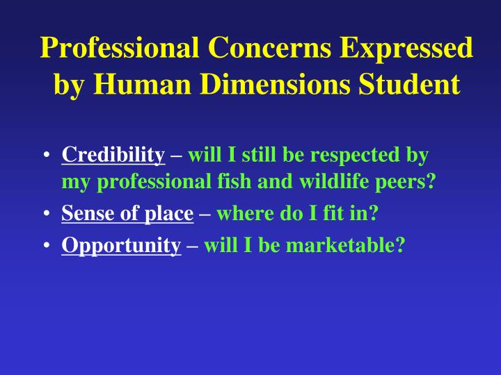 Professional Concerns Expressed by Human Dimensions Student