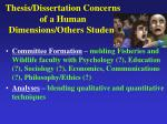 thesis dissertation concerns of a human dimensions others student