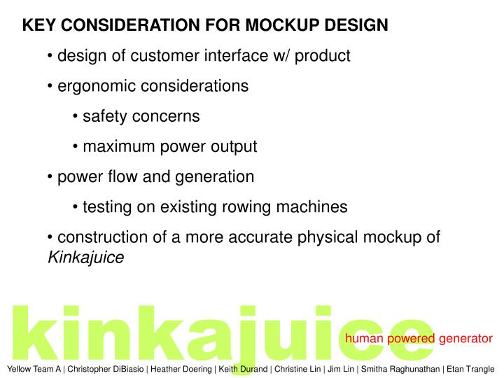 KEY CONSIDERATION FOR MOCKUP DESIGN