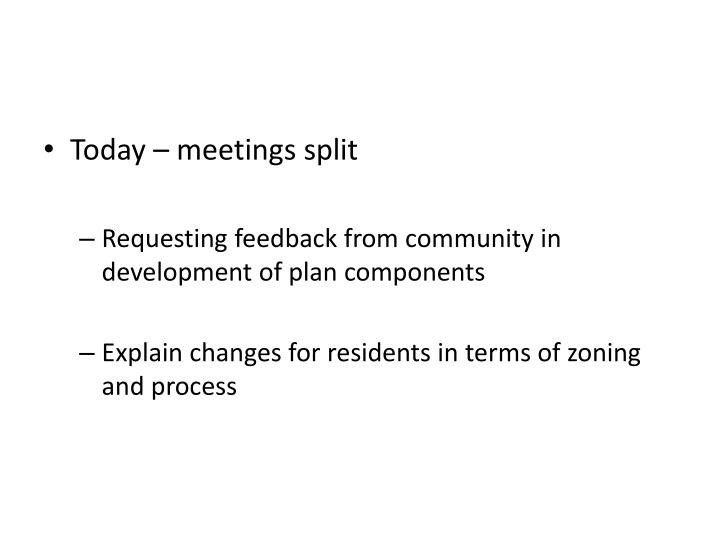 Today – meetings split
