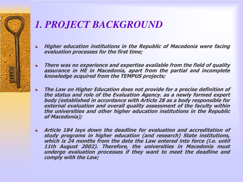 1. PROJECT BACKGROUND
