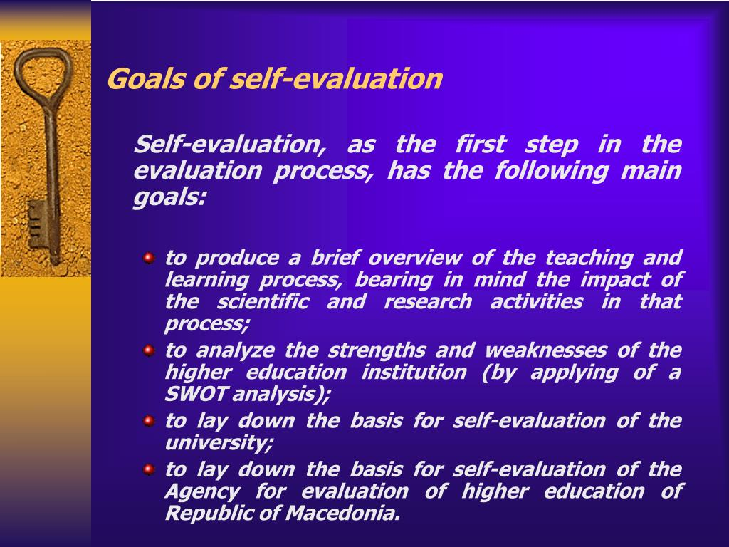 Goals of self-evaluation