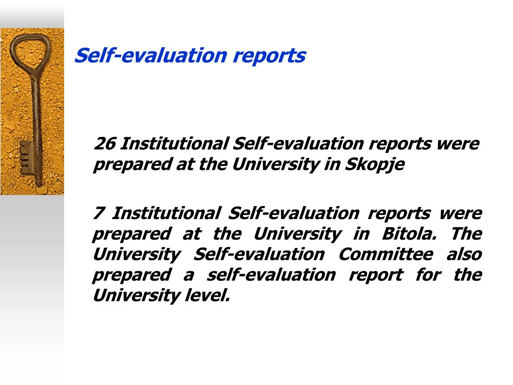 Self-evaluation reports