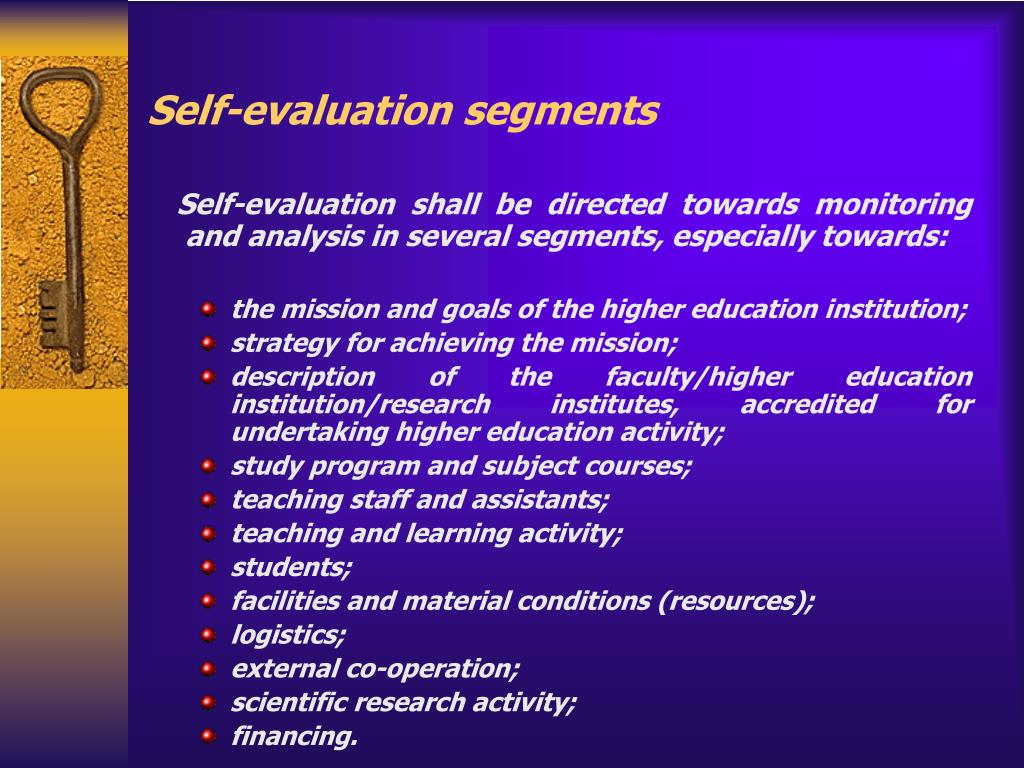 Self-evaluation segments