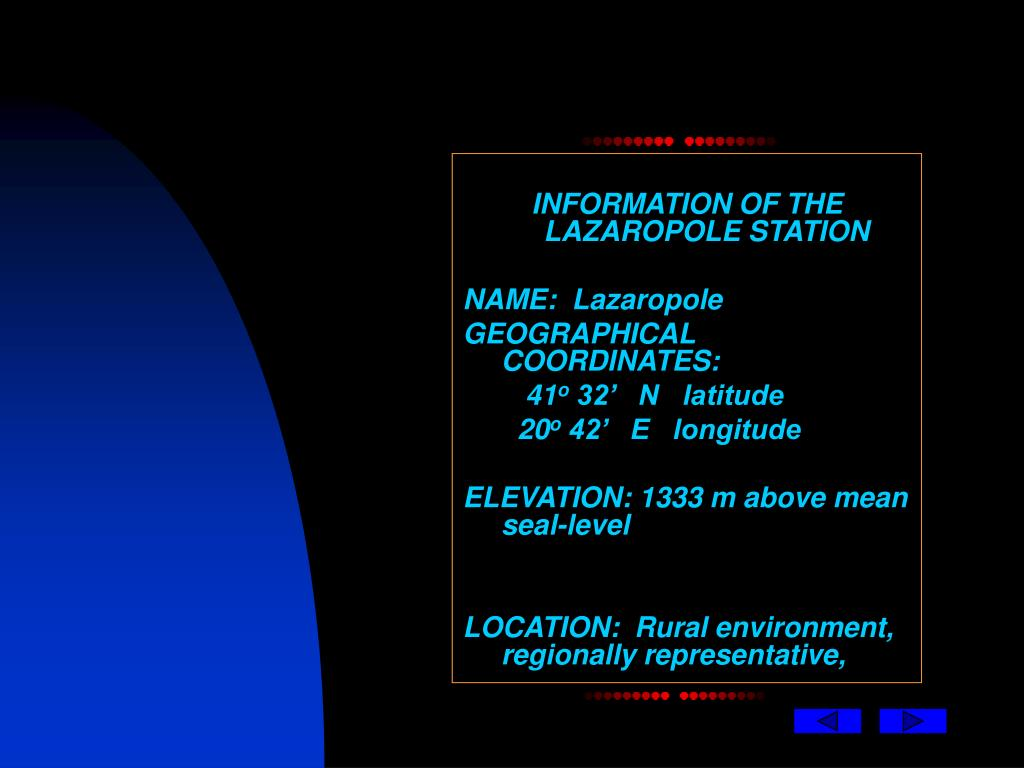 INFORMATION OF THE LAZAROPOLE STATION