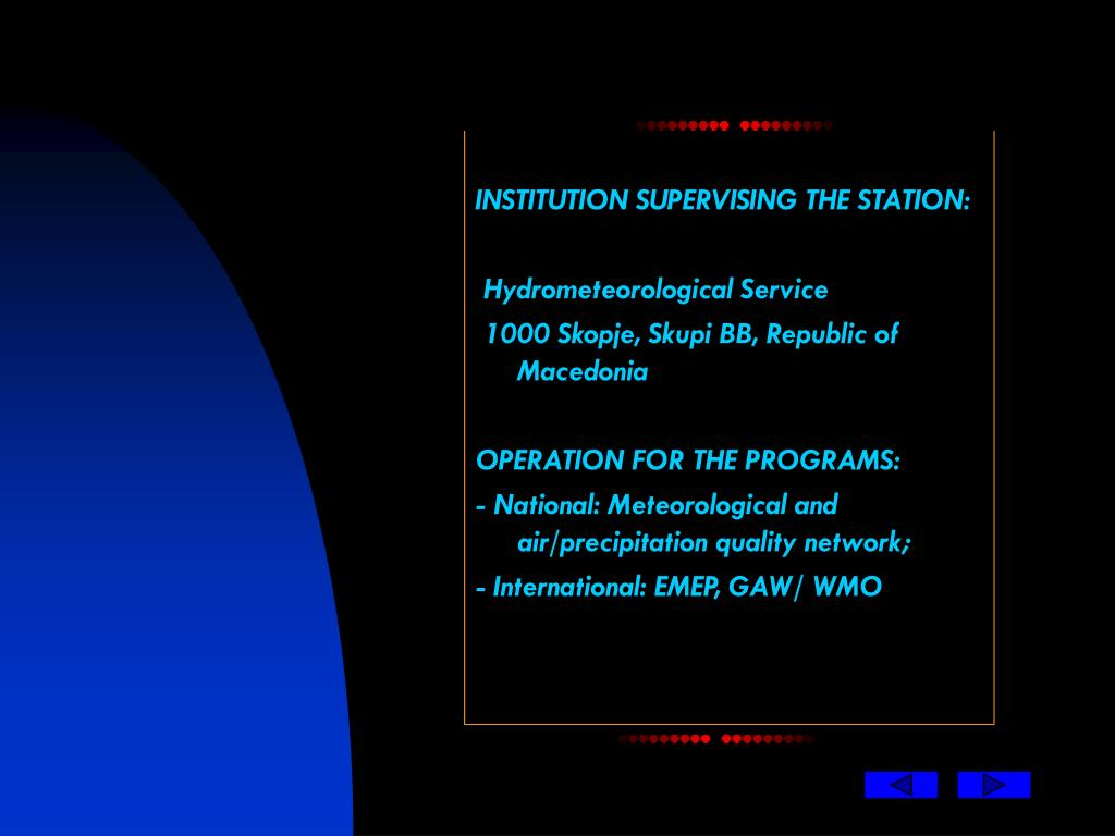INSTITUTION SUPERVISING THE STATION: