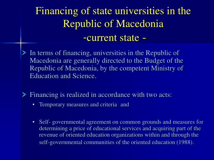 Financing of state universities in the republic of macedonia current state