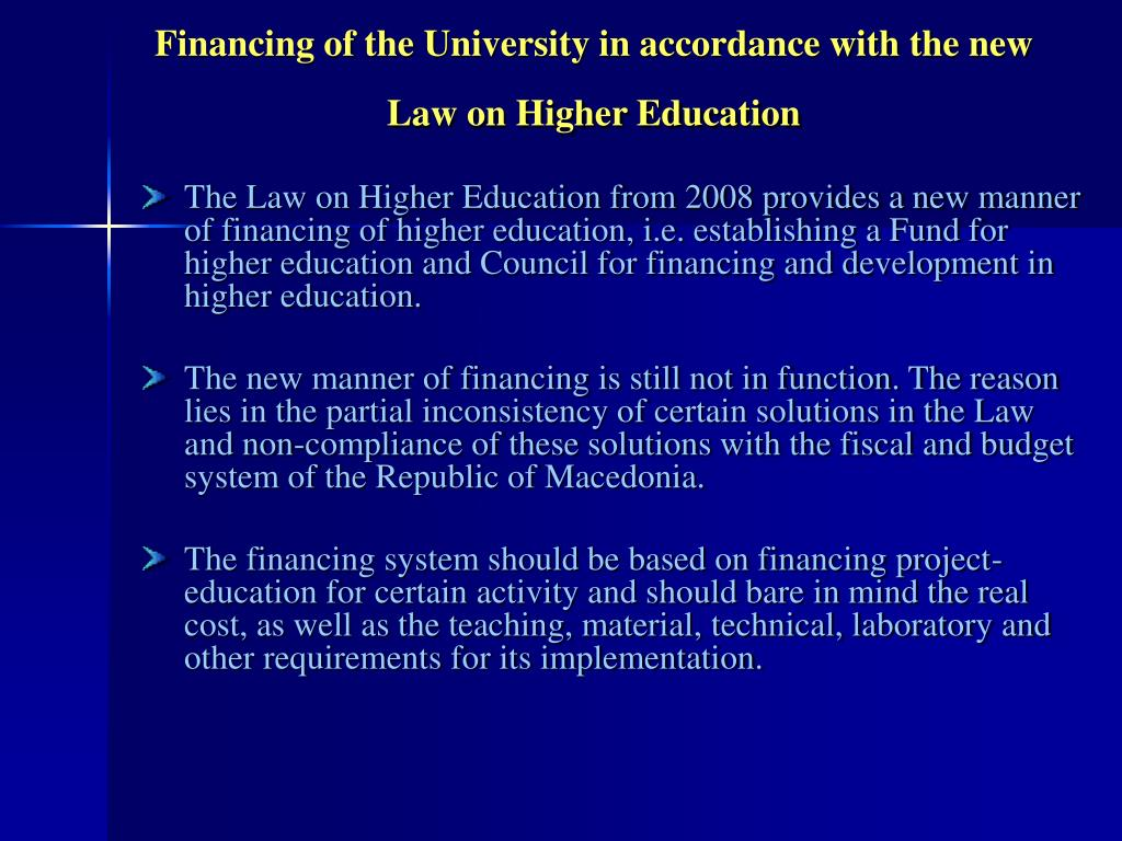 Financing of the University in accordance with the new Law on Higher Education