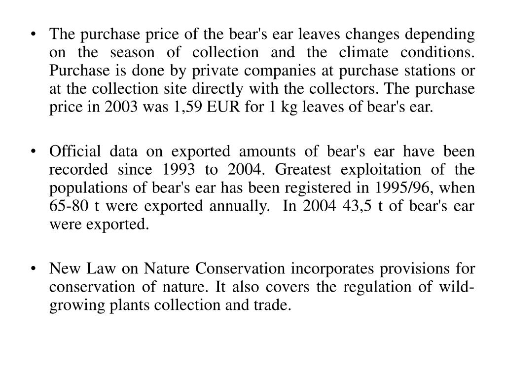 The purchase price of the bear's ear leaves changes depending on the season of collection and the climate conditions. Purchase is done by private companies at purchase stations or at the collection site directly with the collectors. The purchase price in 2003 was 1,59 EUR for 1 kg leaves of bear's ear.