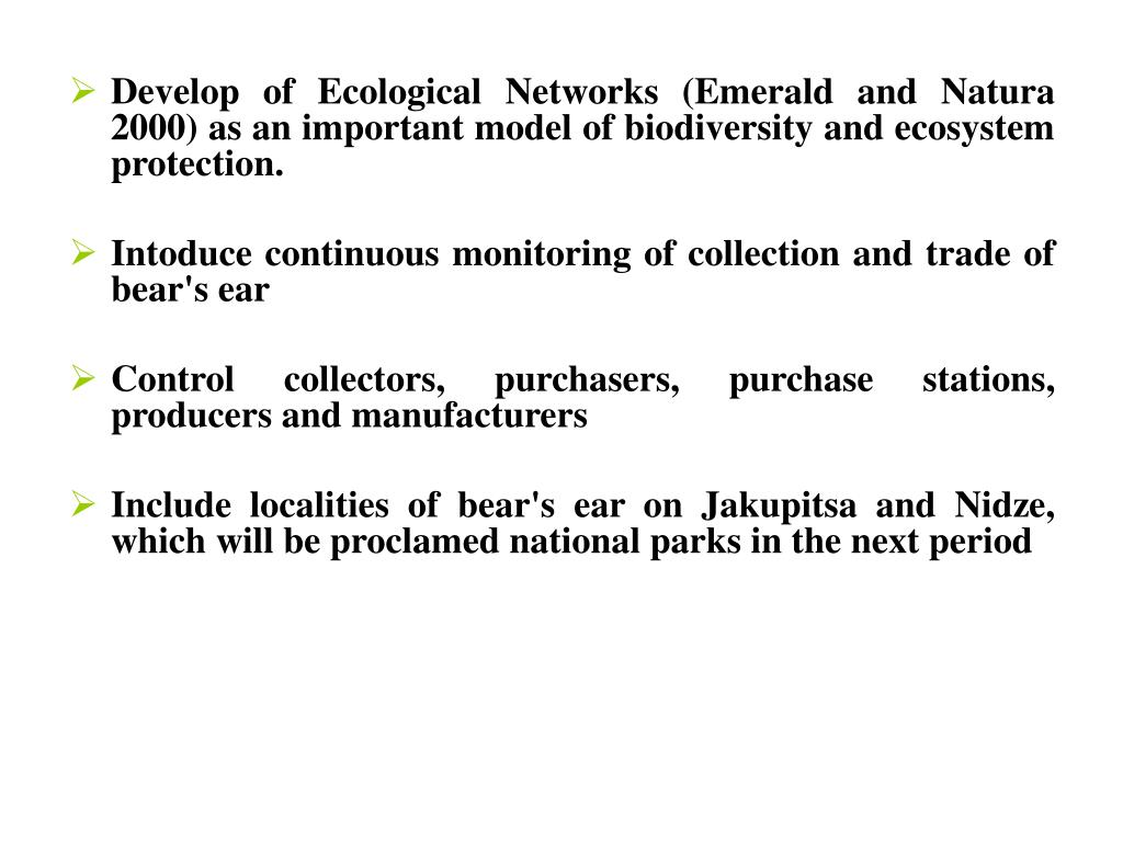 Develop of Ecological Networks (Emerald and Natura 2000) as an important model of biodiversity and ecosystem pro