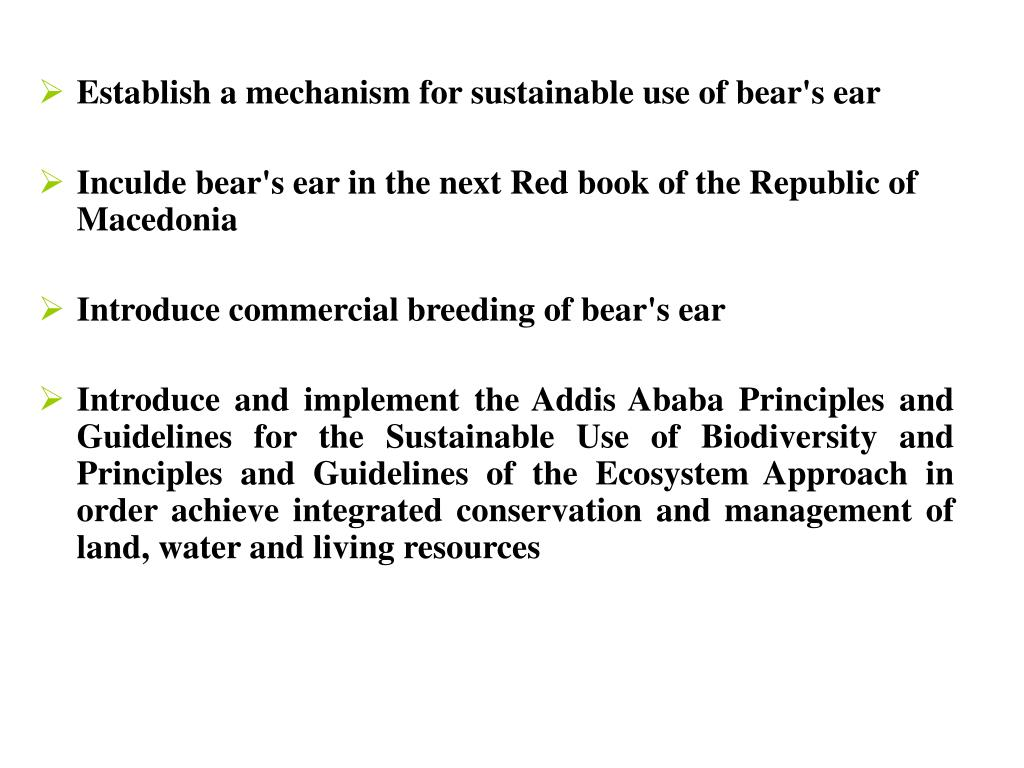 Establish a mechanism for sustainable use of bear's ear