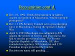 recognition cont d