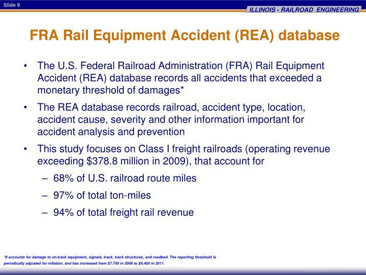 FRA Rail Equipment Accident (REA) database