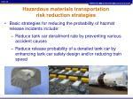 hazardous materials transportation risk reduction strategies