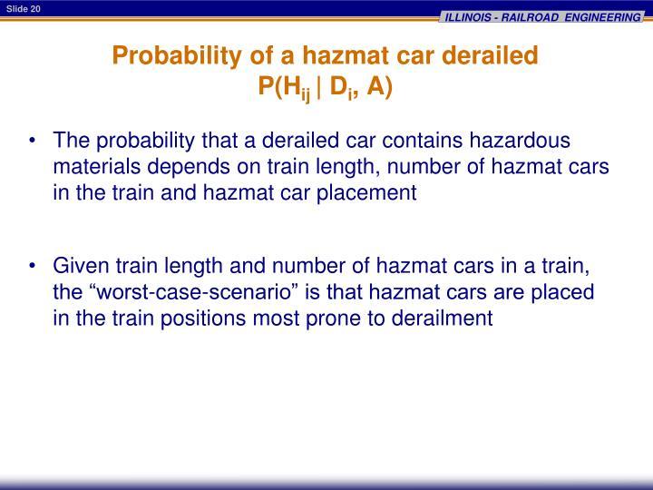 Probability of a hazmat car derailed