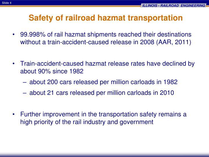 Safety of railroad hazmat transportation