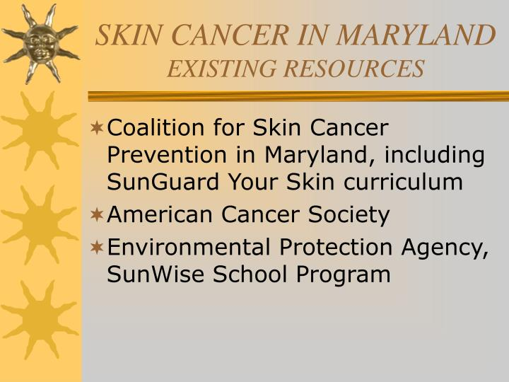 Skin cancer in maryland existing resources