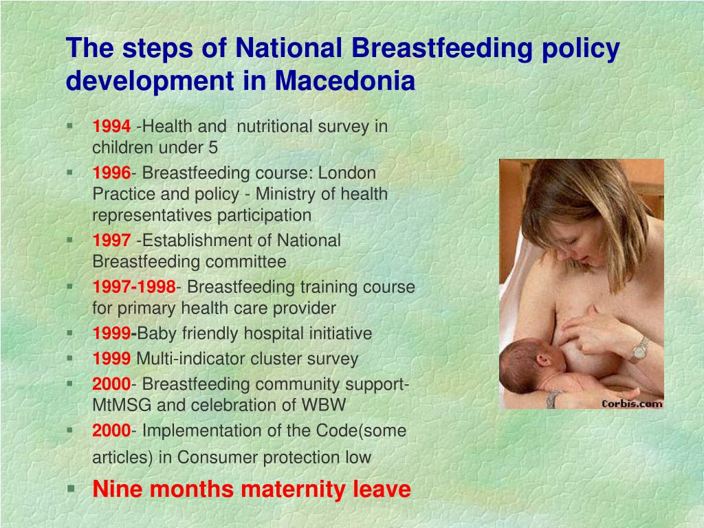 The steps of National Breastfeeding policy development in Macedonia
